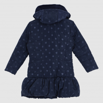 Iconic Polka Dot Printed Jacket with Hood and Long Sleeves