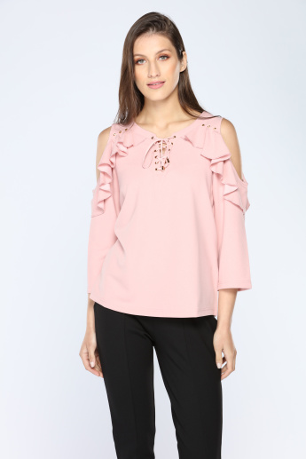 Iconic Cold Shoulder Top with Round Neck and Frill Detail