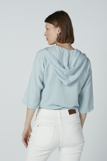 Iconic Plain Top with Hood and Tie Up Detail