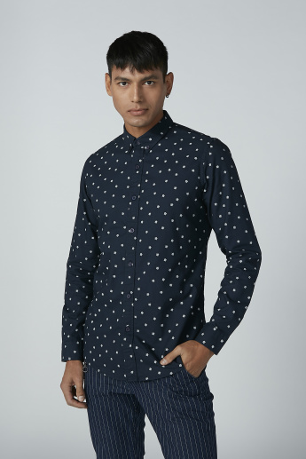 Iconic Printed Shirt with Long Sleeves and Spread Collar