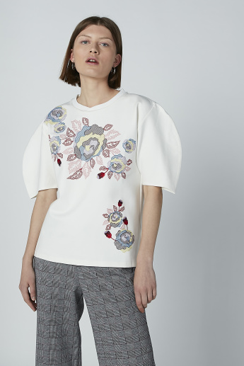 Iconic Floral Printed Top with Round Neck and Short Sleeves