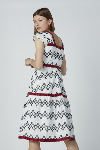 Iconic Printed Midi Dress with Cap Sleeves