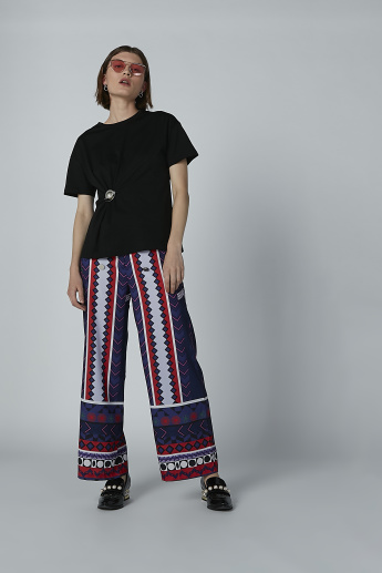 Iconic Printed Palazzo Pants with Metallic Detail