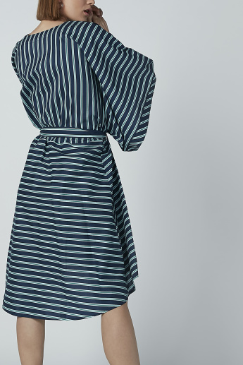 Iconic Striped Midi Dress with Asymmetric Hem