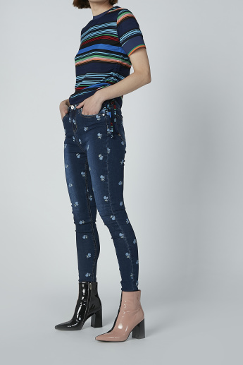 Iconic Full Length Embroidered Jeans with Pocket Detail