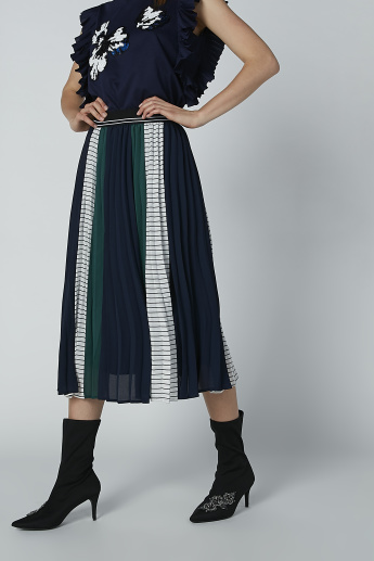 Textured Midi Skirt with Elasticated Waistband