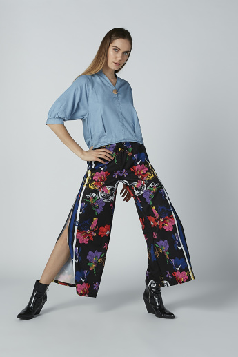Iconic Floral Printed Culottes with Tape and Pocket Detail