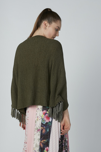 Iconic Textured Shrug with Tassels