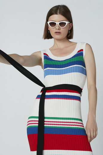 Iconic Striped Sleeveless Midi Dress with Side Slits