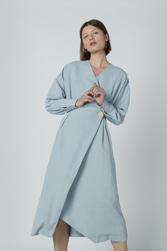 Iconic Midi Wrap Dress with Long Sleeves