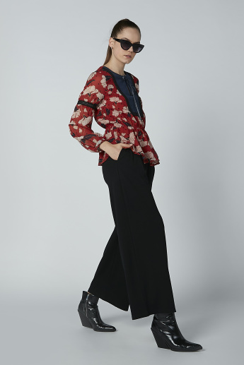 Floral Printed Round Neck Top with Long Sleeves