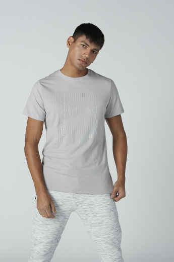 Iconic Textured T-shirt with Round Neck and Short Sleeves