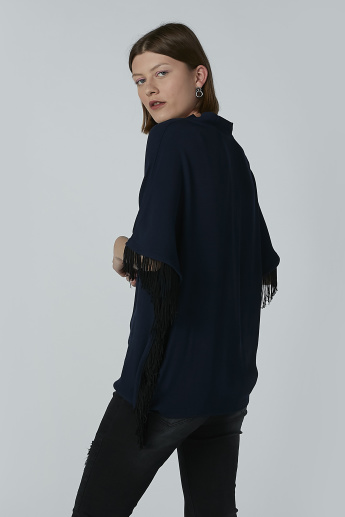 Iconic V-neck Top with Extended Sleeves and Fringes
