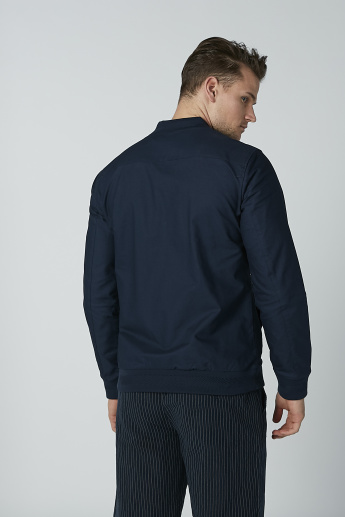 Iconic Plain Bomber Jacket with Long Sleeves and Zip Closure