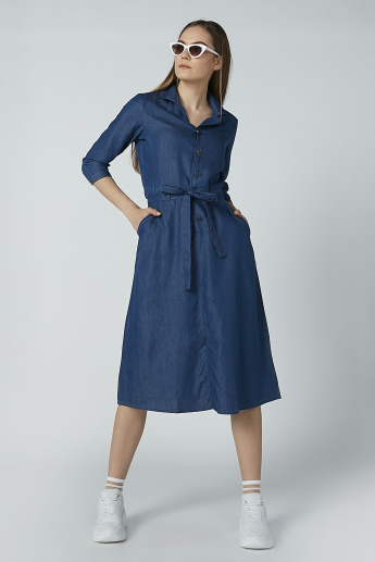 Iconic Solid Midi Shirt Dress with 3/4 Sleeves and Tie Up Belt