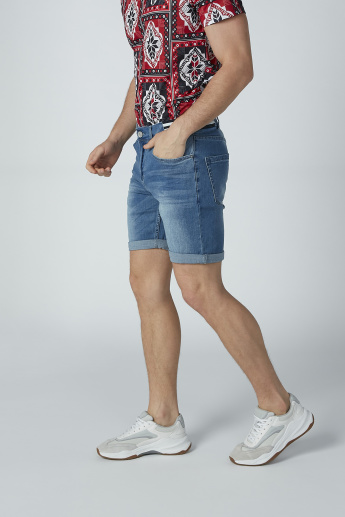 Iconic Denim Shorts with Pocket Detail and Striped Waistband