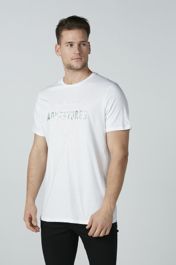 Iconic Printed T-shirt with Short Sleeves and Round Neck