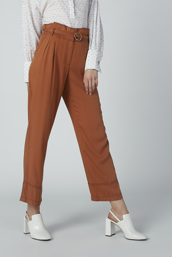 Iconic Solid Pleated Trousers with Pocket Detail