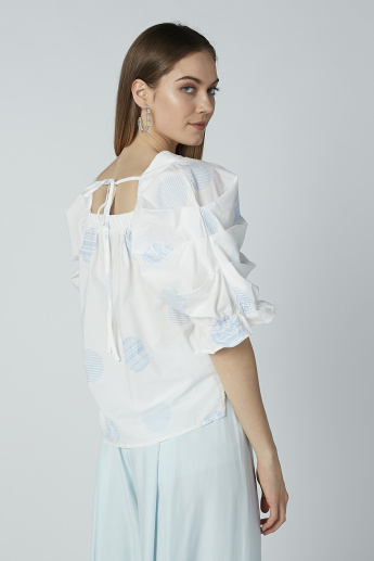 Iconic Printed Top with Tie Up Detail and Ruffle Sleeves