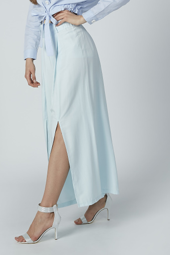 Iconic Wide Fit Palazzo Pants with Tie Up Belt and Front Slit