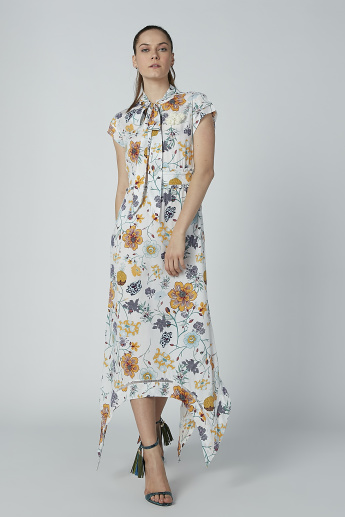 Iconic Floral Printed Maxi Dress with Cap Sleeves and Asymmetric Hem