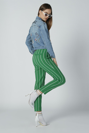 Iconic Striped Trousers with Pocket Detail and Belt Loops