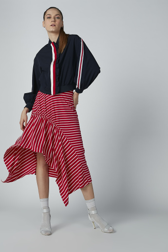 Iconic Striped Midi Skirt with Asymmetric Hem
