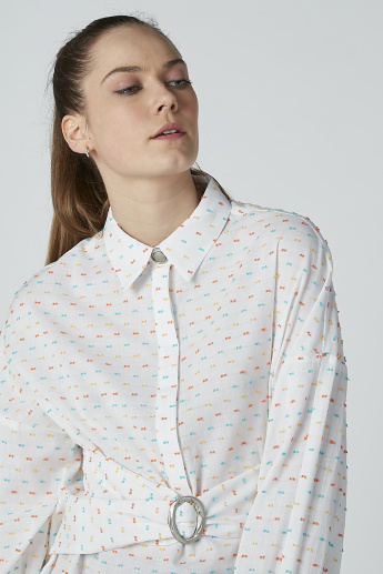 Iconic Embroidered Spread Collared Top with Long Sleeves