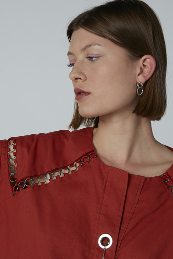 Iconic Eyelet Detail Top with Round Neck and Short Sleeves