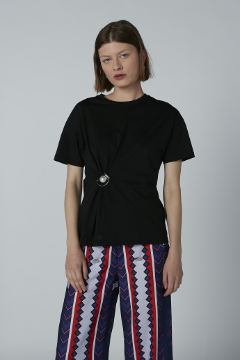 Iconic Embellished Top with Round Neck and Short Sleeves