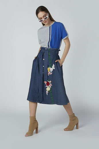 Iconic Midi Skirt with Floral Applique and Paper Bag Waist