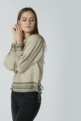 Iconic Textured Top with Long Sleeves and Tie Ups