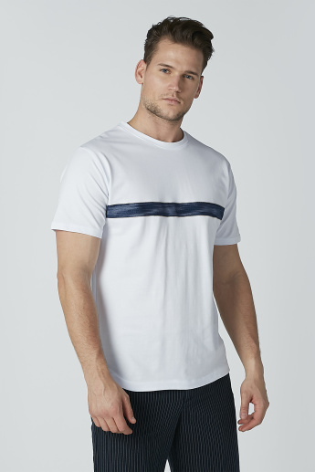 Iconic Plain T-shirt with Strap Detail and Round Neck