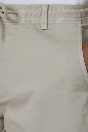 Iconic Plain Mid Waist Shorts with Elasticised Waistband and Pockets