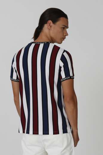 Iconic Slim Fit Striped T-shirt with Crew Neck and Short Sleeves