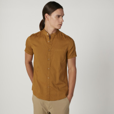 Iconic Slim Fit Plain Shirt with Mandarin Collar and Short Sleeves