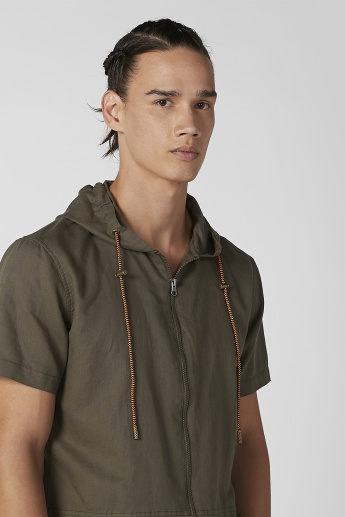 iconic Plain Shirt with Zip Closure and Hood