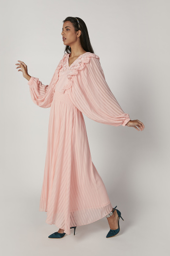 Iconic Textured Maxi A-line Dress with V-neck and Bishop Sleeves