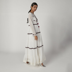 Iconic Embroidered Maxi A-line Dress with Long Sleeves and Tie Ups