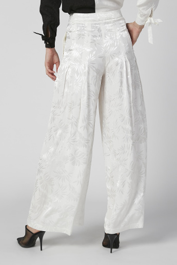 Iconic Wide Fit Textured High Waist Palazzo Pants with Pocket Detail