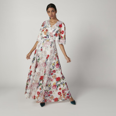 Iconic Printed Maxi A-line Dress with V-neck and Flared Sleeves