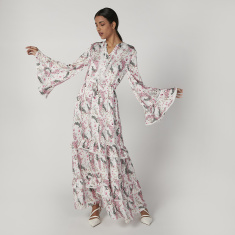 Iconic Printed Maxi A-line Dress with V-neck and Bell Sleeves