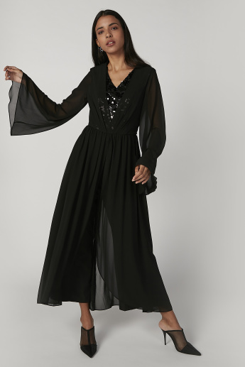 Iconic Embellished Detail Jumpsuit with V-neck and Flared Sleeves