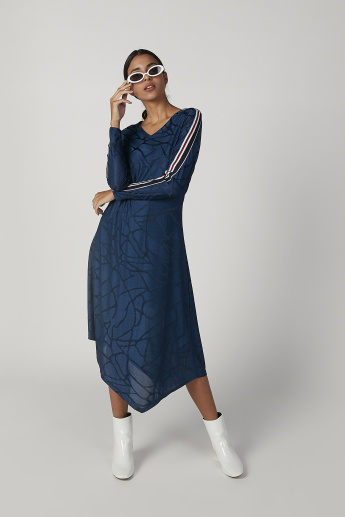 Iconic Asymmetric Printed Midi Dress with Long Sleeves and Tape Detail