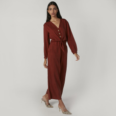 Iconic Plain Jumpsuit with Long Sleeves and Knot Detail