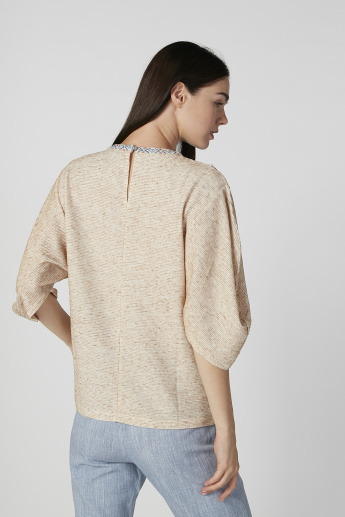 Iconic Embellished Top with Round Neck and 3/4 Sleeves