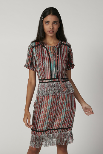 Iconic Textured Midi A-line Dress with Tie Ups and Fringes