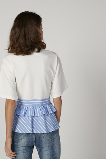Iconic Striped Top with Short Sleeves and Knot Detail