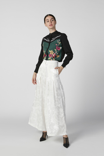Iconic Floral Printed Top with Mandarin Collar and Long Sleeves