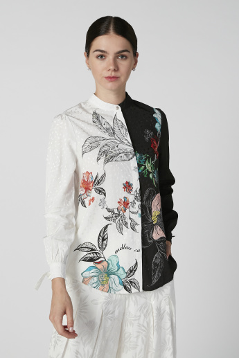 Iconic Printed Top with Mandarin Collar and Long Sleeves
